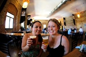 Enjoying the beer at Lake Front Brewery, Milwaukee