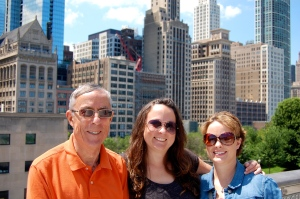 Three of the Timmses with the Chicago skyline