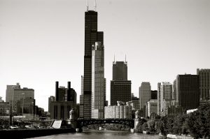 Chicago skyline from the architecture tour boat cruise