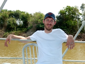 Jon relaxes on the top deck of the boat