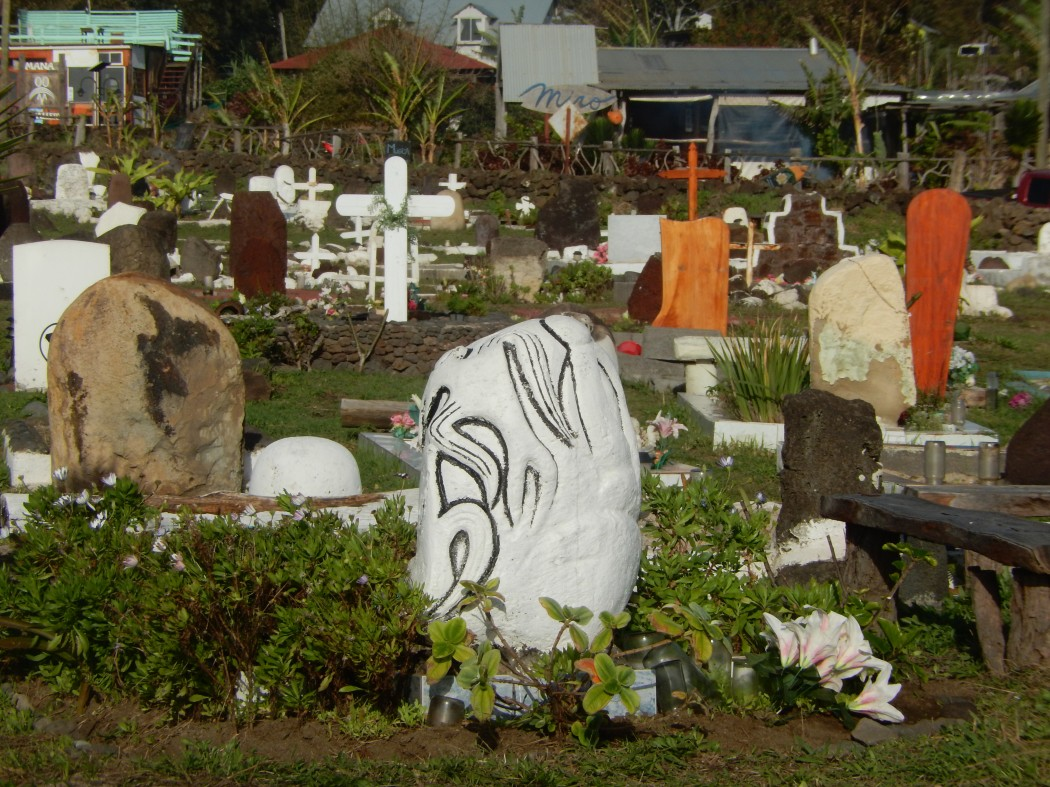 The cemetery of Hanga Roa in the setting sun