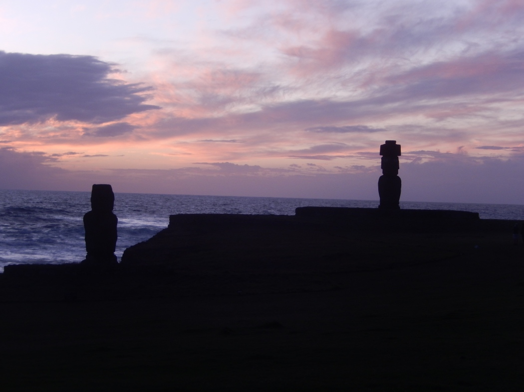 Sunset at Ahu Tahai.  Our guide, Paul helped restore these moai statues.
