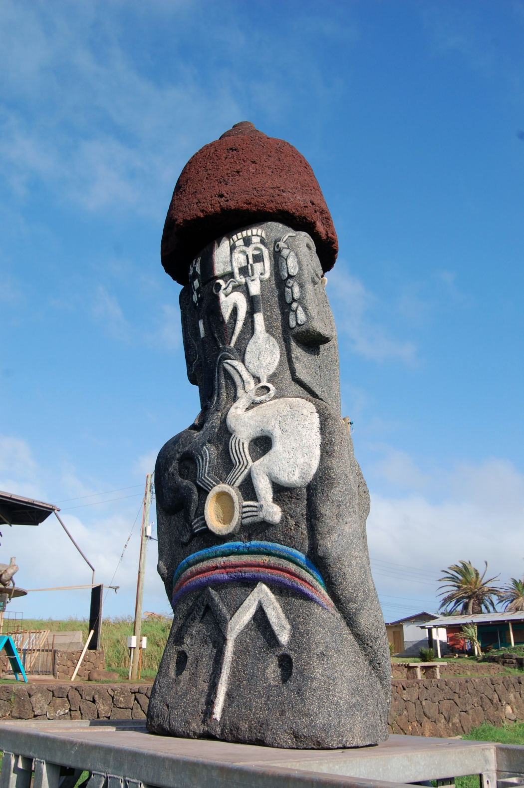 The backs of the moai are intricately carved.  This one displays the Bird Man, one of the main symbols of Easter Island for the traditional competition that took place at Orongo