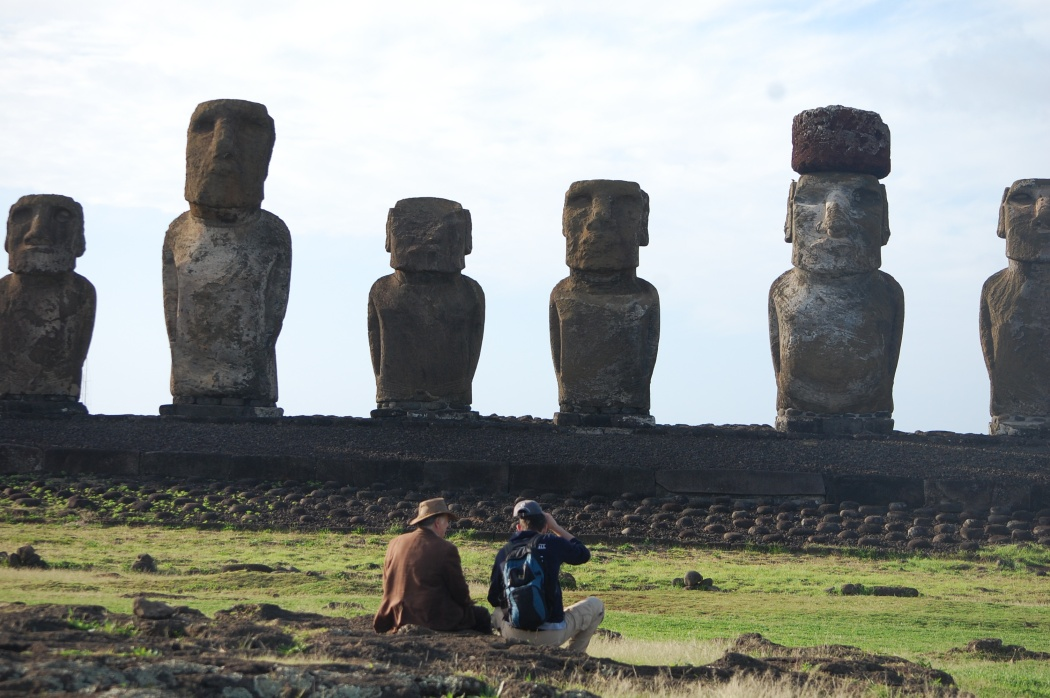 Jon and Paul gazing at the moai