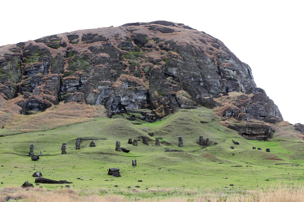 Rano Raraku on approach.  All of those black rocks on the hill are moai