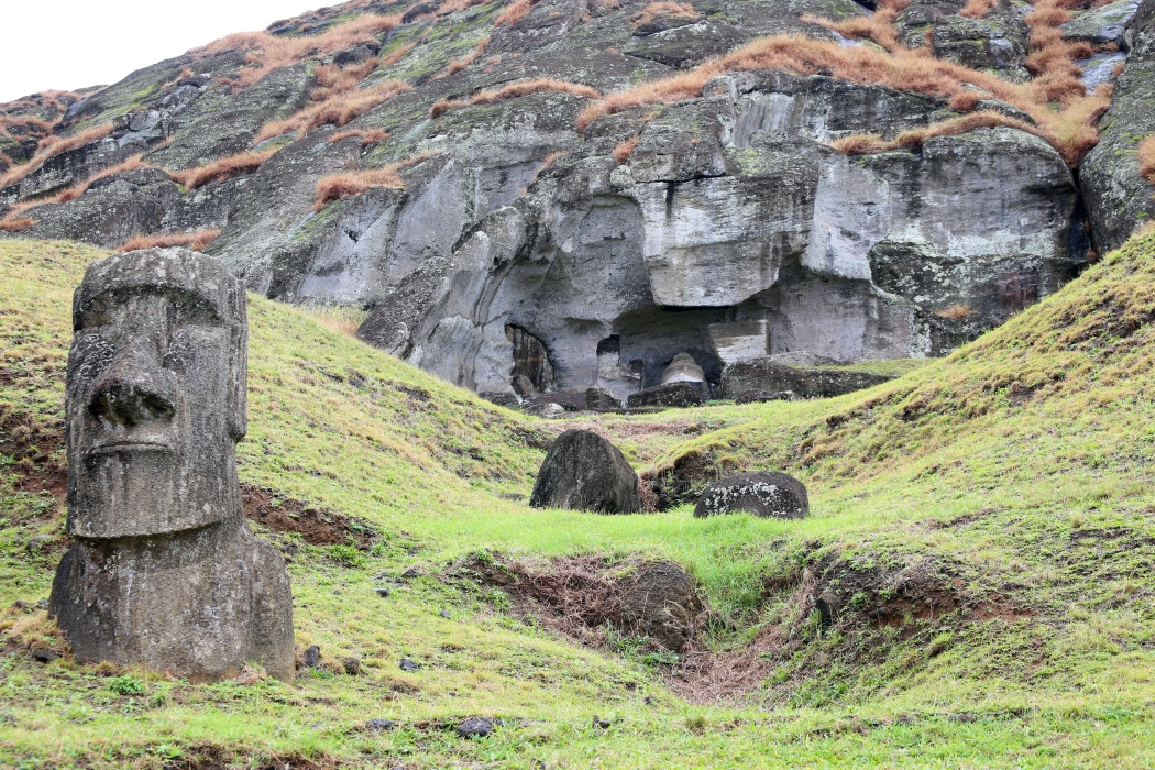 The rock quarry.  To see the most famous moai, like the Gigante you have to climb up the hill to see them