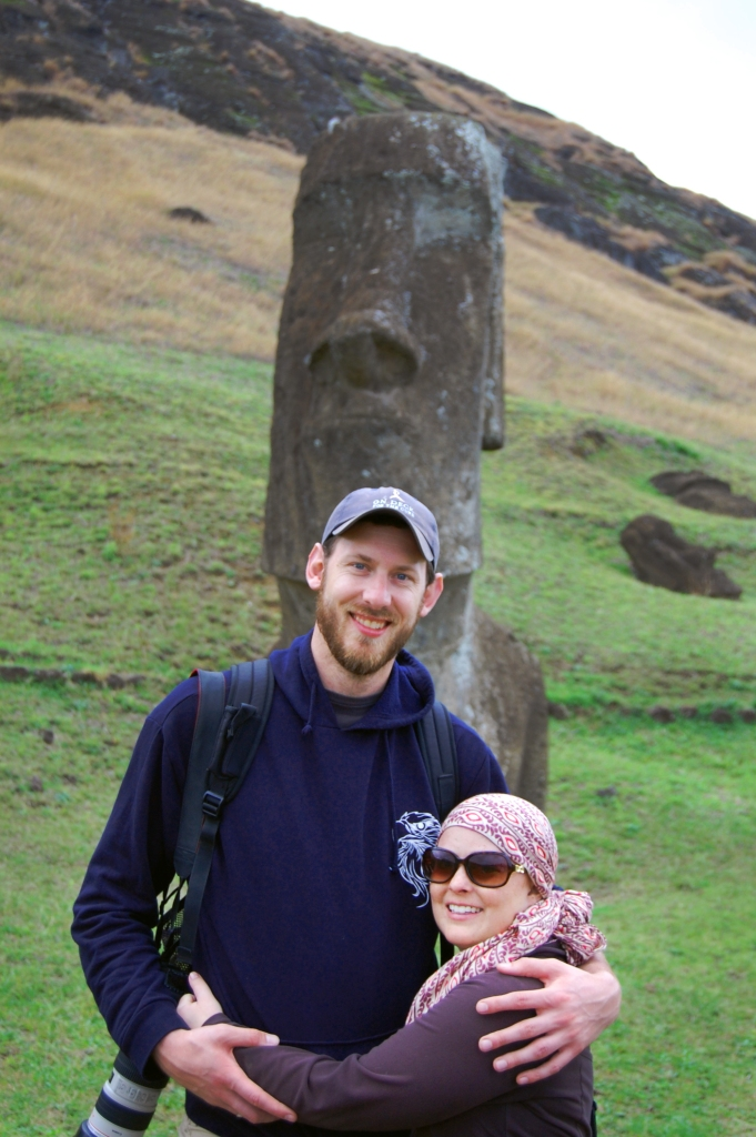 Me and Jon in front of a moai at Rano Raku