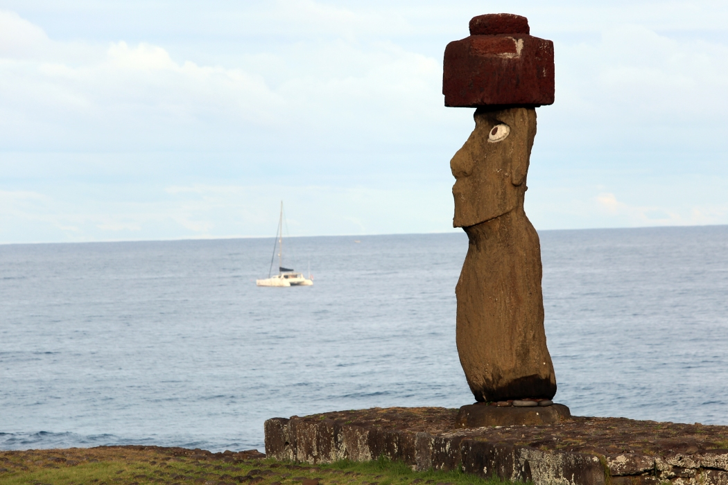 I love the topknot on this guy. The pukao, or topknot, indicates that the moai represents a chieftan, and also that the statue is more modern than others. The red rock is also a sacred color for the Rapa Nui.