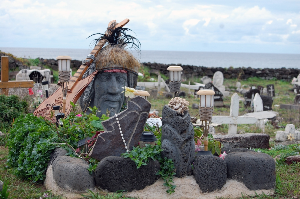 More cemetery pictures.  The religion is very colorful.  Much of the Catholic traditions have been influenced by the Rapa Nui culture that believes in devils and other spirits